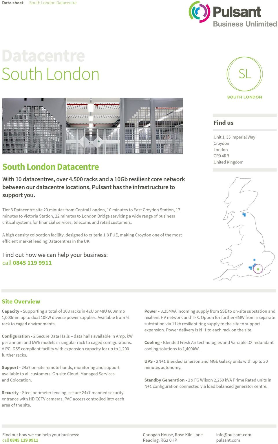 London Bridge servicing a wide range of business critical systems for financial services, telecoms and retail customers. A high density colocation facility, designed to criteria 1.