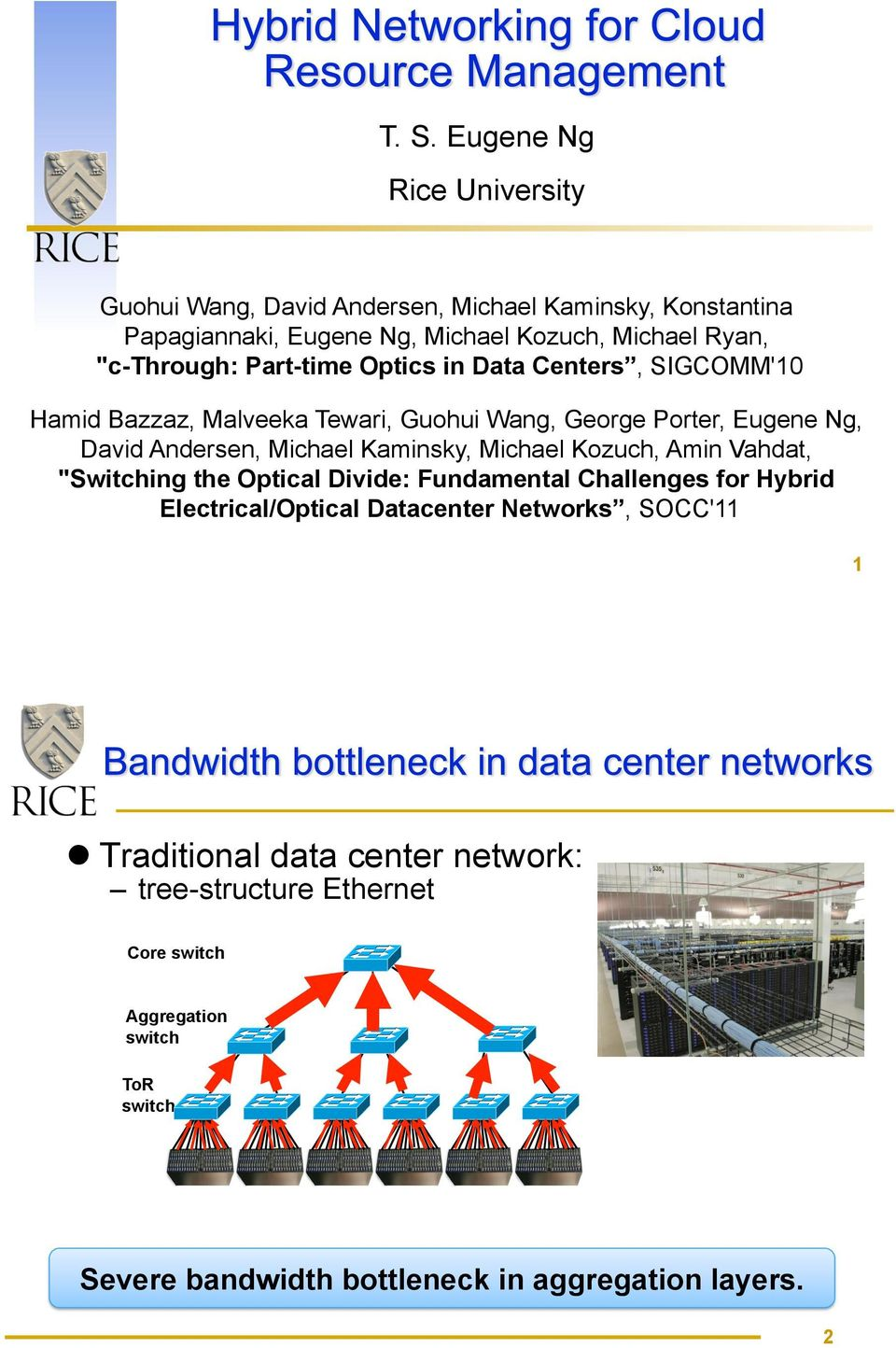 "Kaminsky, Michael Kozuch, Amin Vahdat, ""Switching the Optical Divide: Fundamental Challenges for Hybrid Electrical/Optical Datacenter Networks,"
