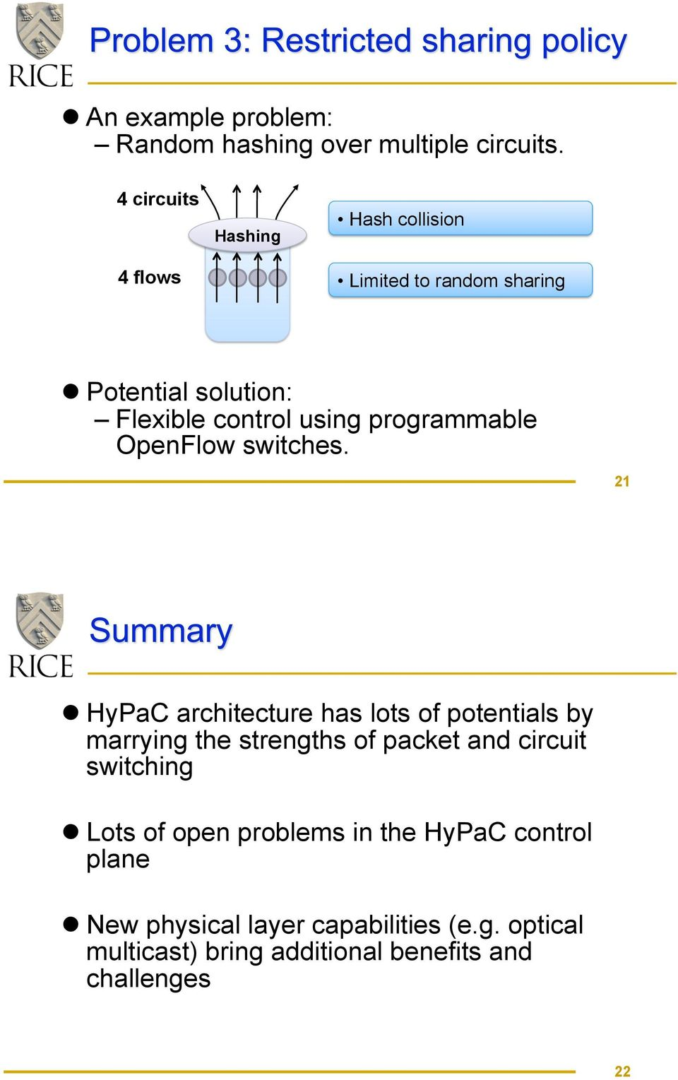 Potential solution: Flexible control using programmable OpenFlow switches. 21!