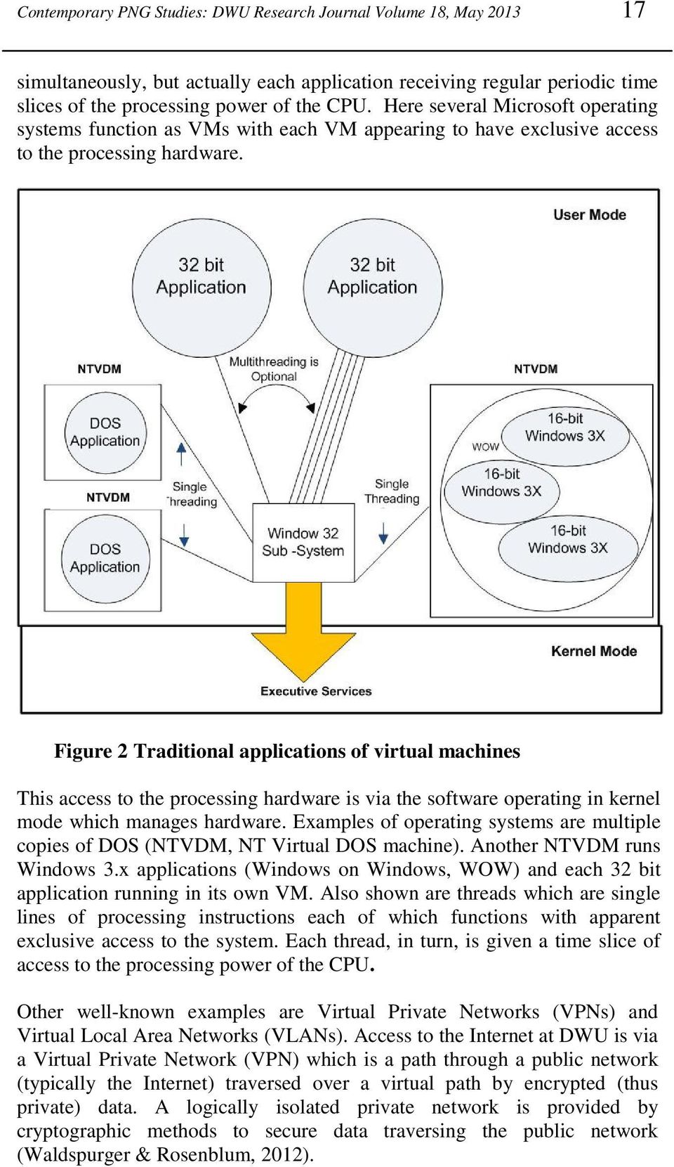 Figure 2 Traditional applications of virtual machines This access to the processing hardware is via the software operating in kernel mode which manages hardware.