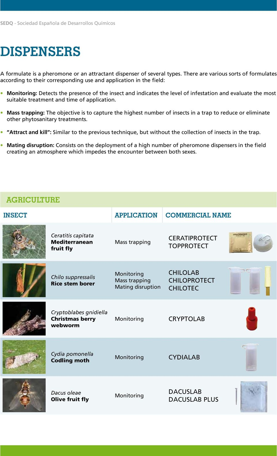 most suitable treatment and time of application. Mass trapping: The objective is to capture the highest number of insects in a trap to reduce or eliminate other phytosanitary treatments.