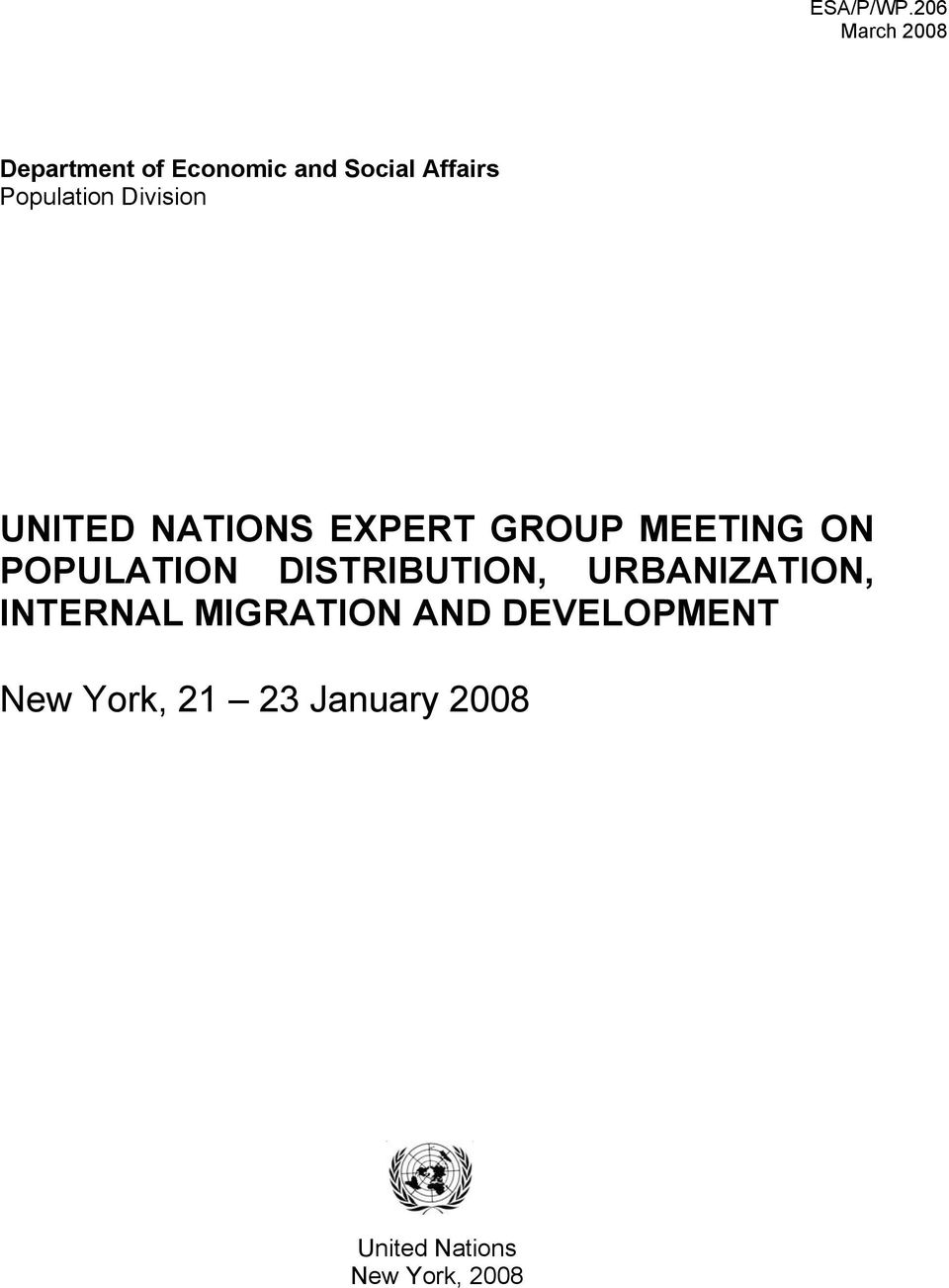 Population Division UNITED NATIONS EXPERT GROUP MEETING ON