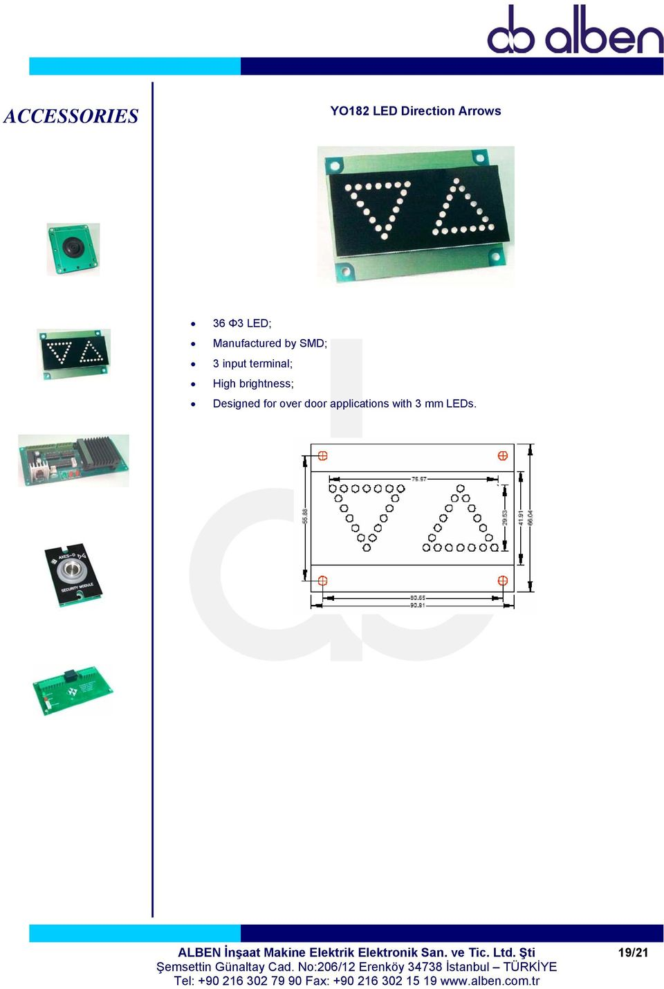 Designed for over door applications with 3 mm LEDs.