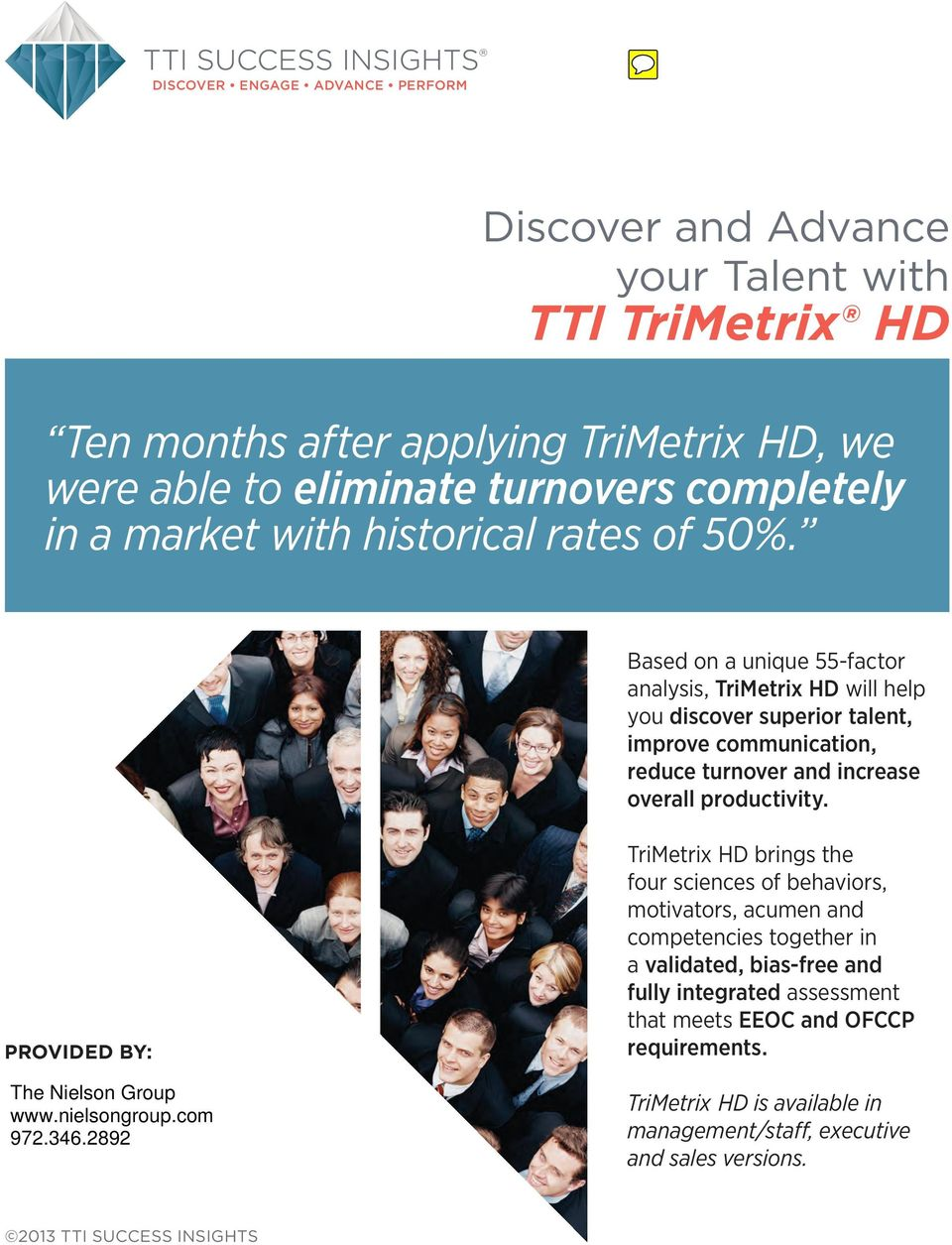 Based on a unique 55-factor analysis, TriMetrix HD will help you discover superior talent, improve communication, reduce turnover and increase overall productivity.