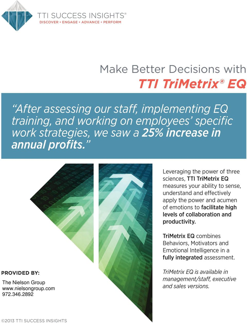 Leveraging the power of three sciences, TTI TriMetrix EQ measures your ability to sense, understand and effectively apply the power and acumen of emotions to