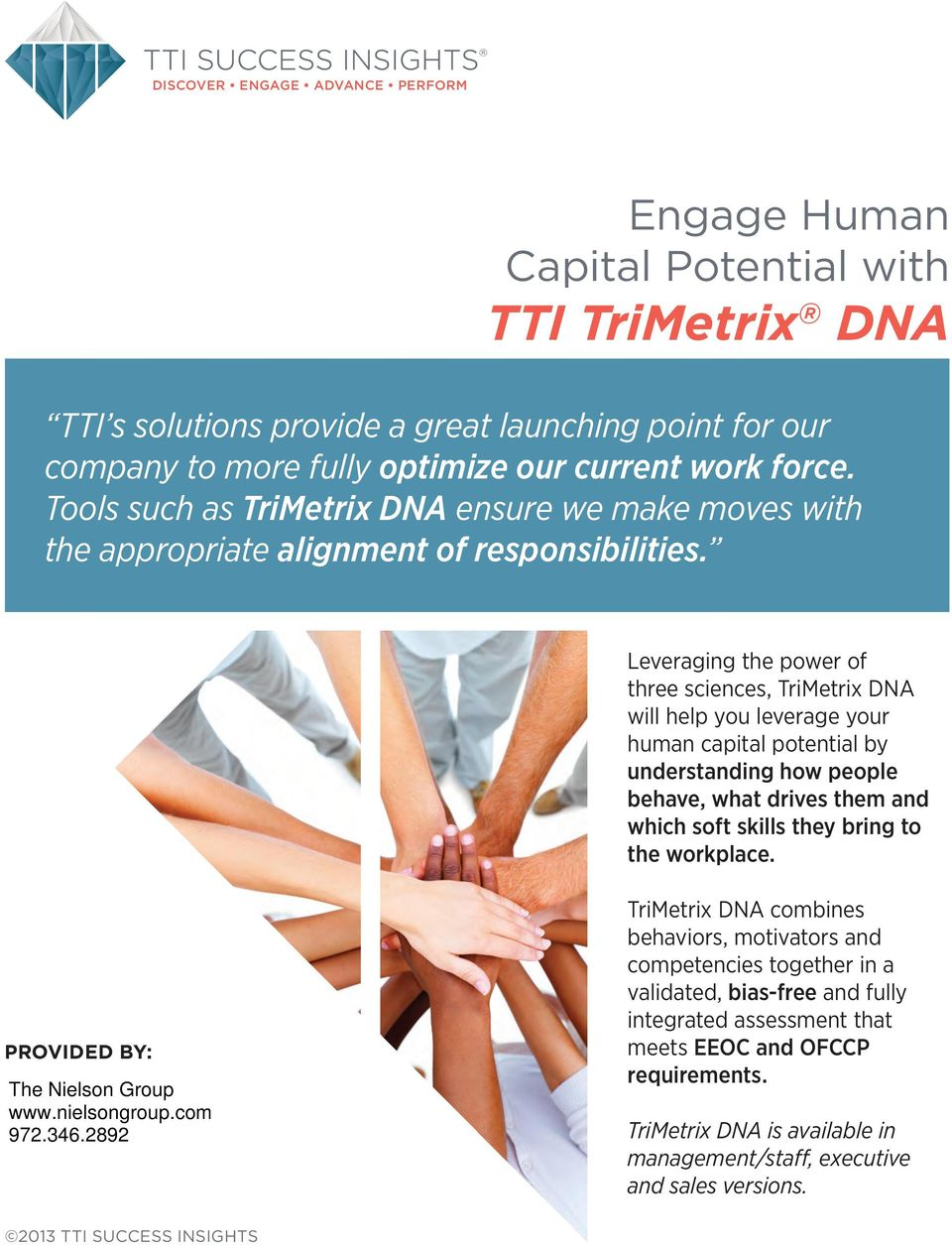Leveraging the power of three sciences, TriMetrix DNA will help you leverage your human capital potential by understanding how people behave, what drives them and which soft skills they bring