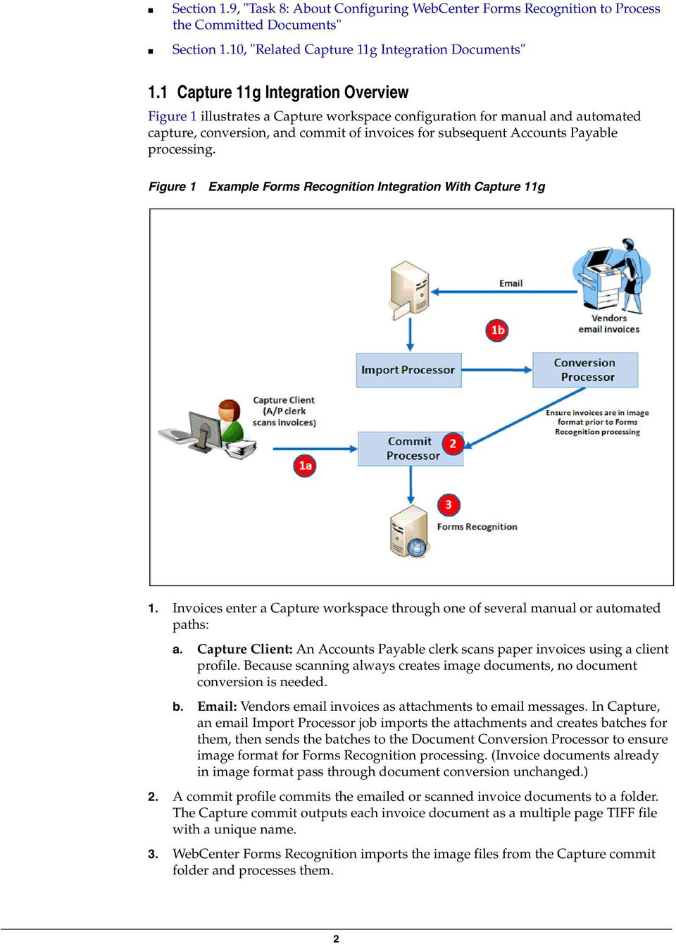 processing. Figure 1 Example Forms Recognition Integration With Capture 11g 1. Invoices enter a Capture workspace through one of several manual or automated paths: a.