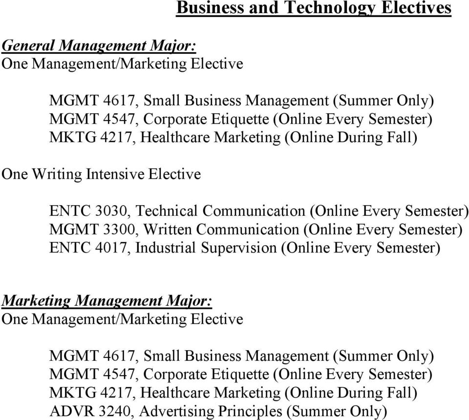 Written Communication (Online Every Semester) ENTC 4017, Industrial Supervision (Online Every Semester) Marketing Management Major: One Management/Marketing Elective MGMT 4617,