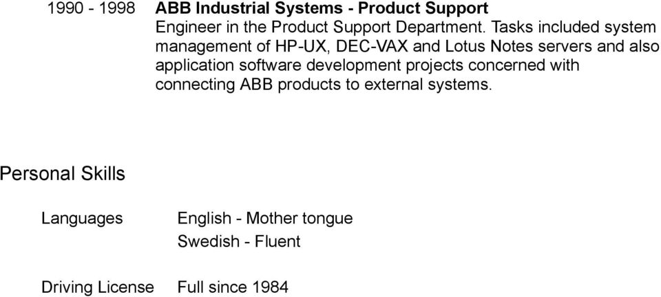 application software development projects concerned with connecting ABB products to external