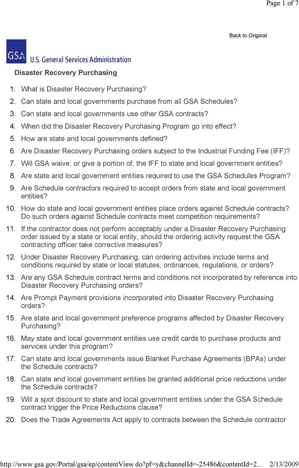 Are Disaster Recovery Purchasing orders subject to the Industrial Funding Fee (IFF)? 7. Will GSA waive, or give a portion of, the IFF to state and local government entities? 8.