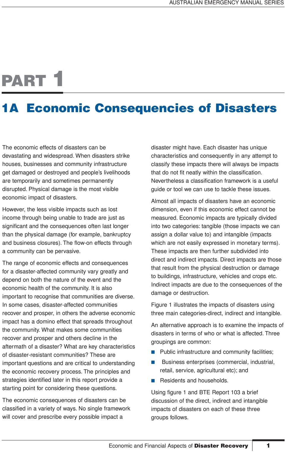 Physical damage is the most visible economic impact of disasters.