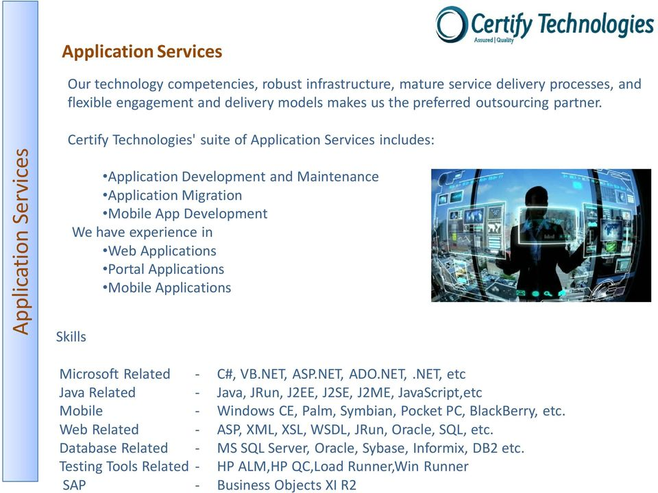 Certify Technologies' suite of Application Services includes: Application Development and Maintenance Application Migration Mobile App Development We have experience in Web Applications Portal