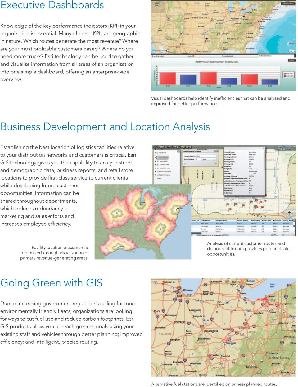 Esri technology can be used to gather and visualize information from all areas of an organization into one simple dashboard, offering an enterprise-wide overview.
