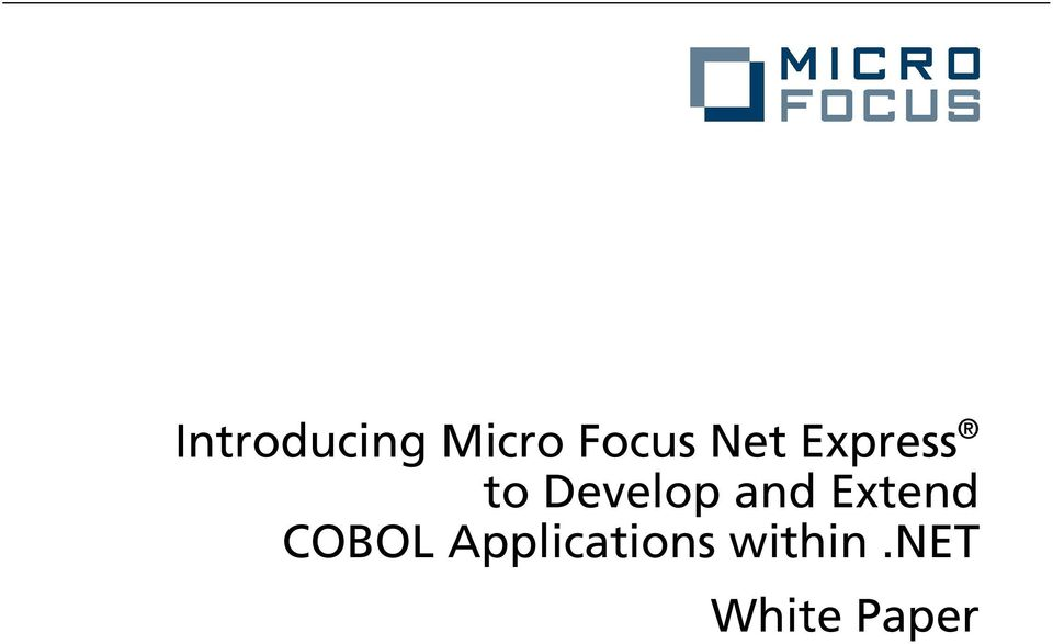 and Extend COBOL