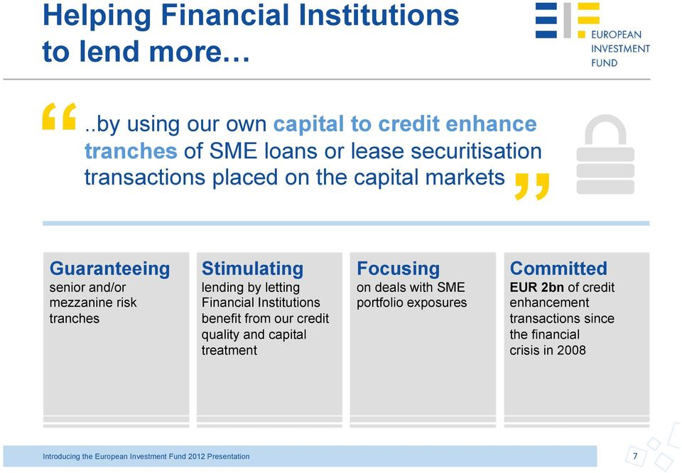 Guaranteeing senior and/or mezzanine risk tranches Stimulating lending by letting Financial Institutions benefit from our credit