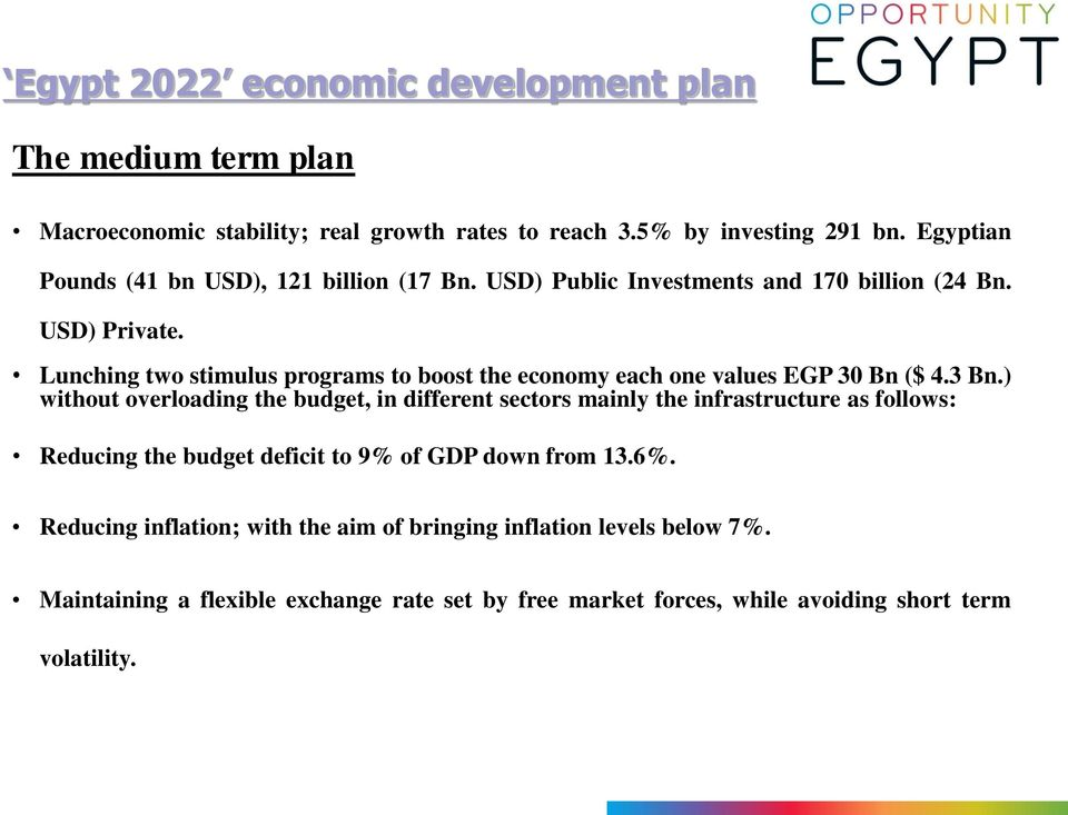 Lunching two stimulus programs to boost the economy each one values EGP 30 Bn ($ 4.3 Bn.