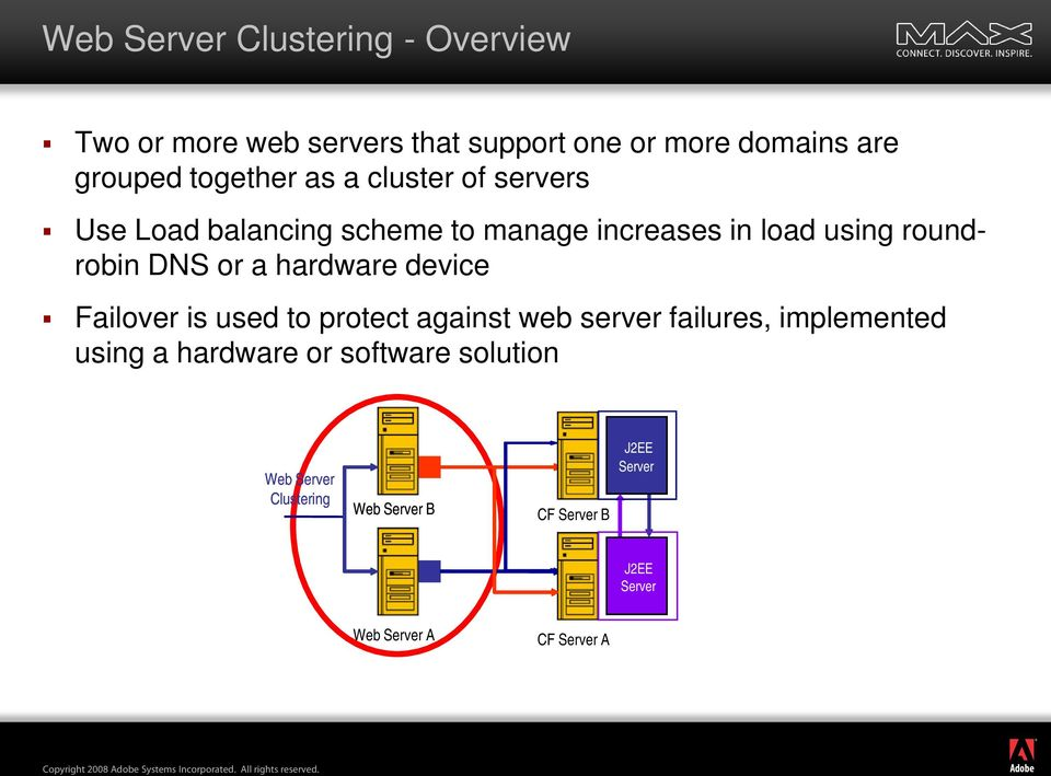 Failover is used to protect against web server failures, implemented using a hardware or software solution Web