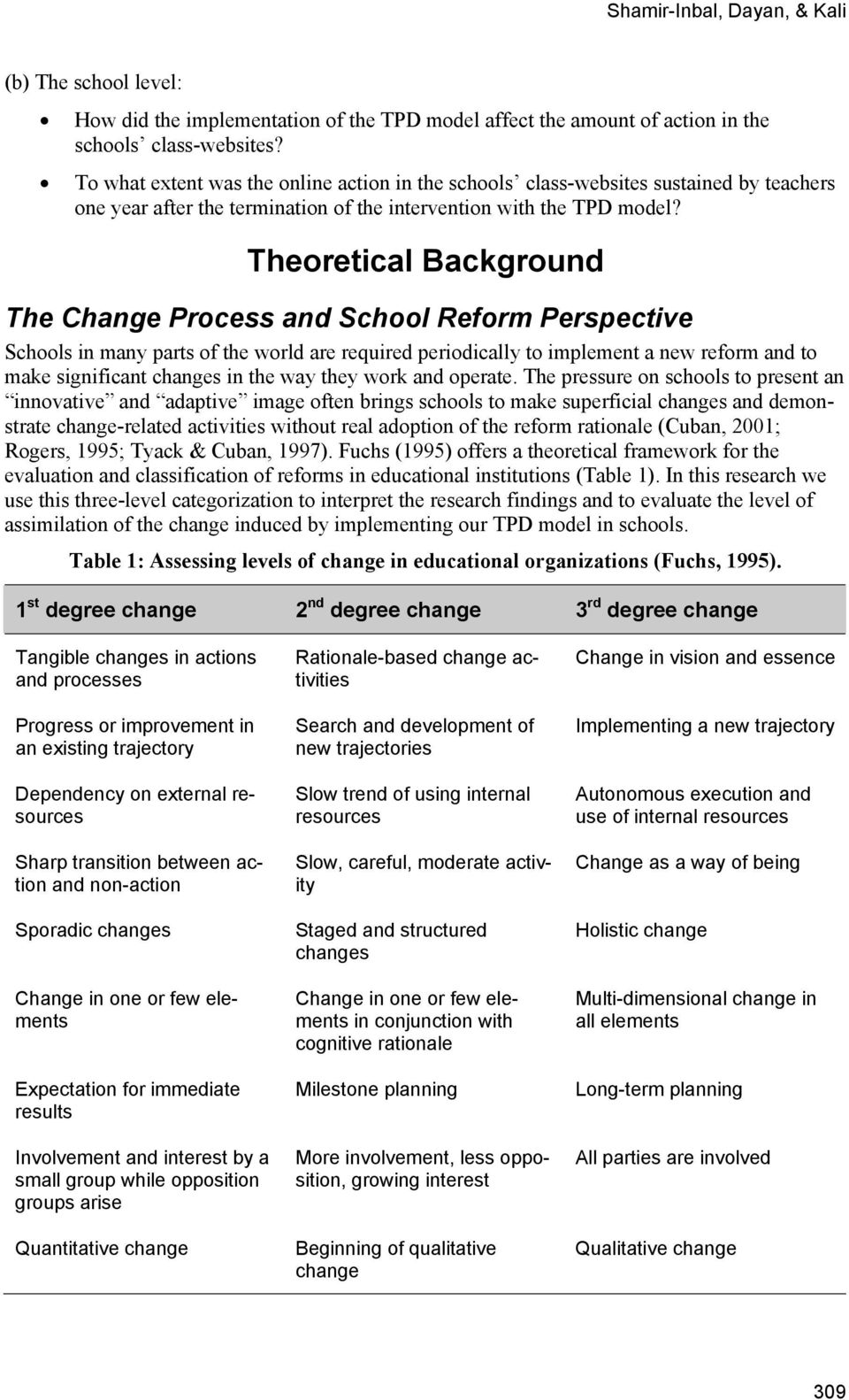 Theoretical Background The Change Process and School Reform Perspective Schools in many parts of the world are required periodically to implement a new reform and to make significant changes in the