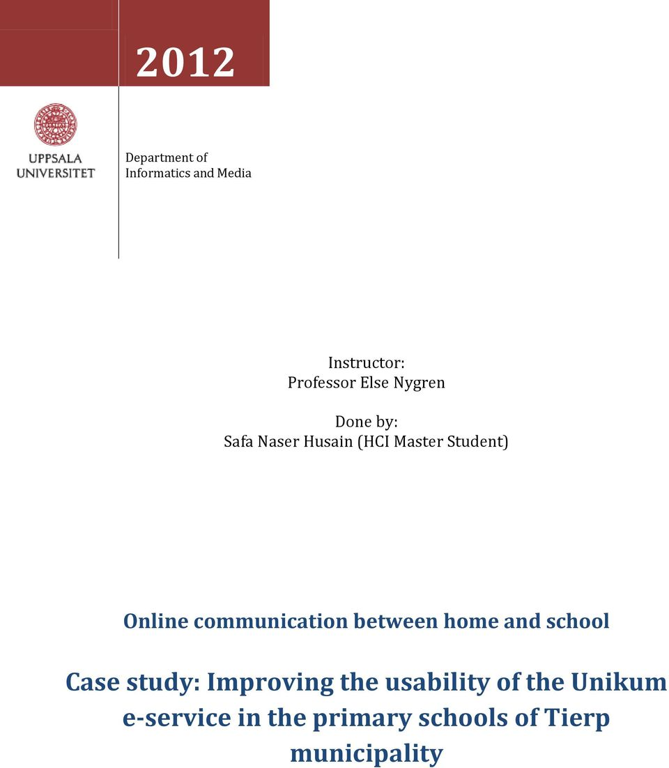 communication between home and school Case study: Improving the