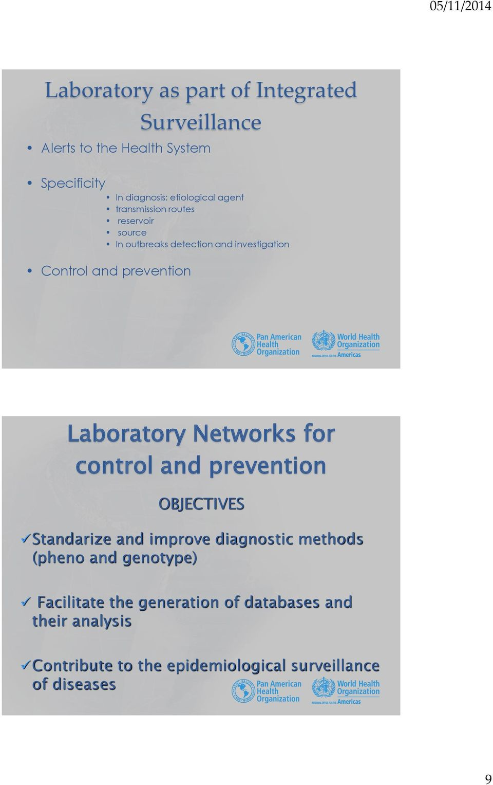 Laboratory Networks for control and prevention OBJECTIVES Standarize and improve diagnostic methods (pheno and