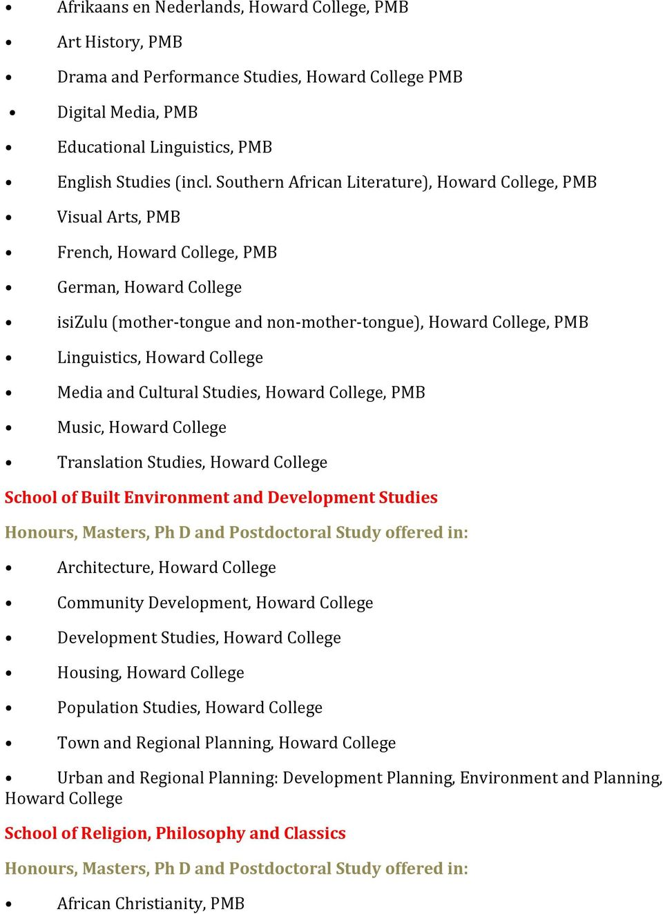 Howard College Media and Cultural Studies, Howard College, PMB Music, Howard College Translation Studies, Howard College School of Built Environment and Development Studies Honours, Masters, Ph D and