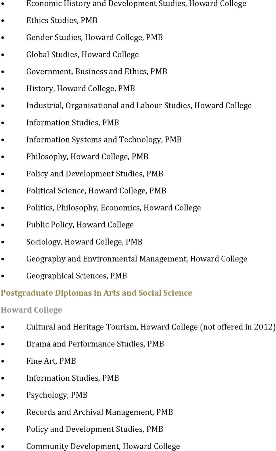 Studies, PMB Political Science, Howard College, PMB Politics, Philosophy, Economics, Howard College Public Policy, Howard College Sociology, Howard College, PMB Geography and Environmental