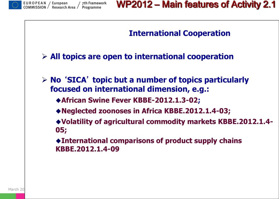 of topics particularly focused on international dimension, e.g.: African Swine Fever KBBE-2012