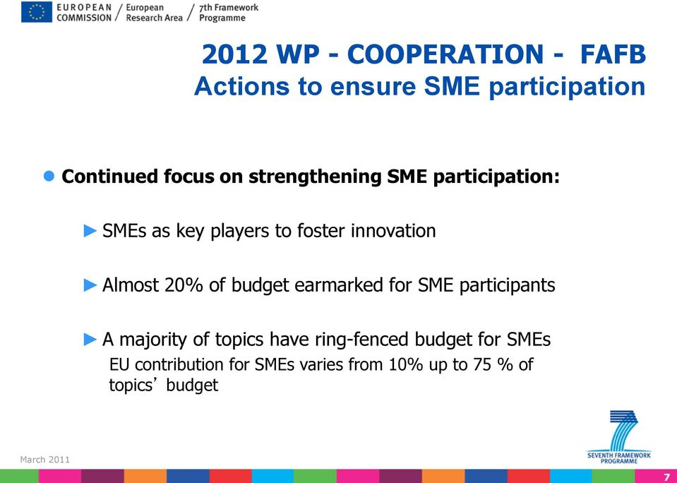 20% of budget earmarked for SME participants A majority of topics have ring-fenced