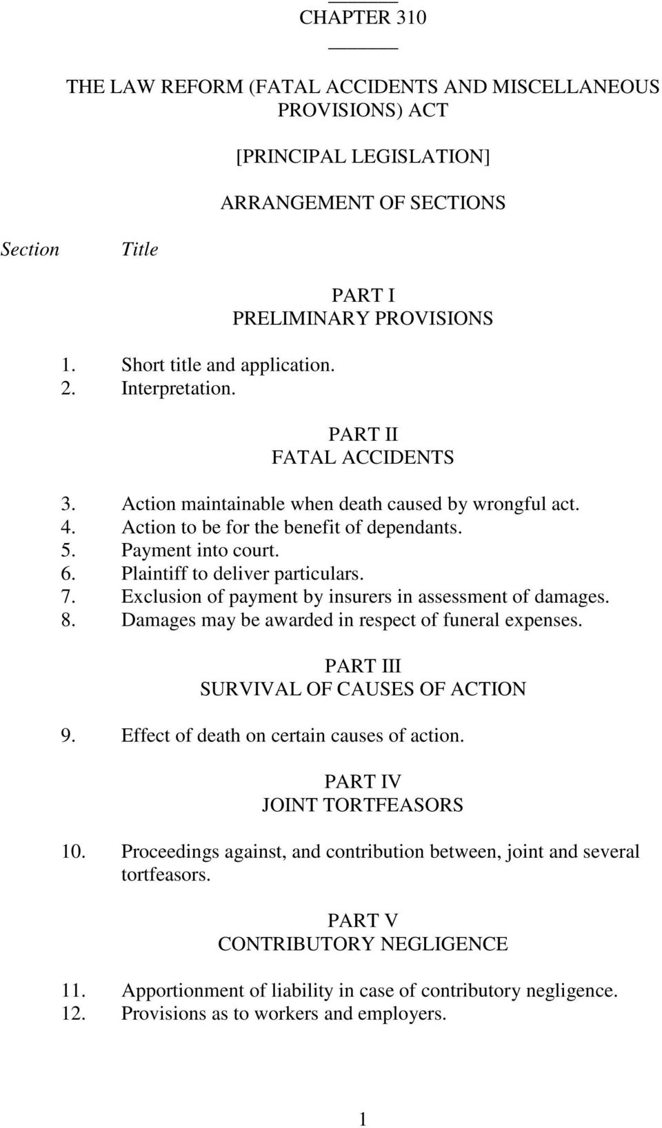 Plaintiff to deliver particulars. 7. Exclusion of payment by insurers in assessment of damages. 8. Damages may be awarded in respect of funeral expenses. PART III SURVIVAL OF CAUSES OF ACTION 9.