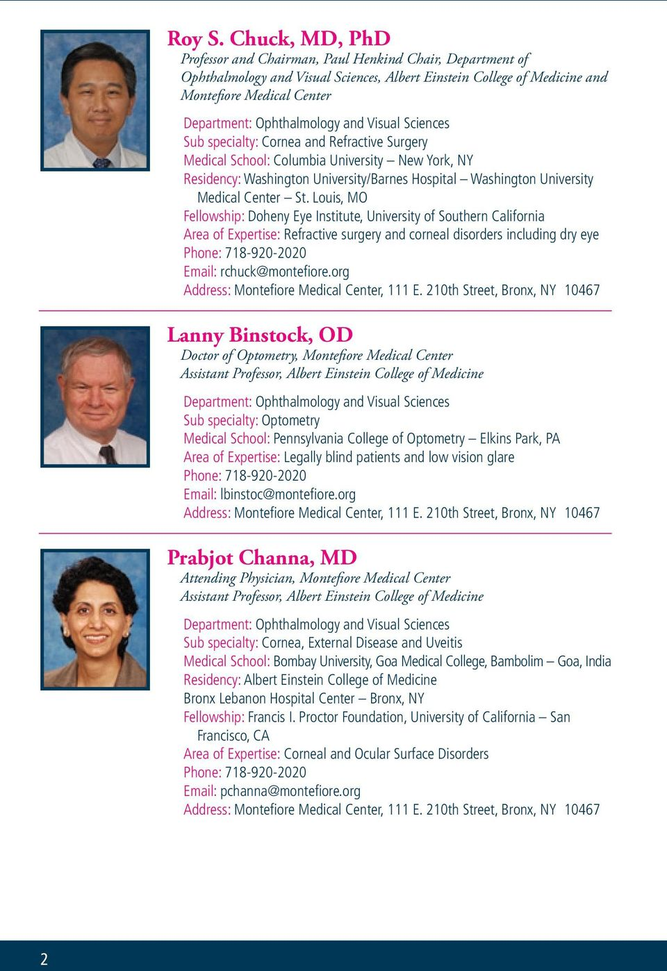 Directory of The Department of Ophthalmology and Visual