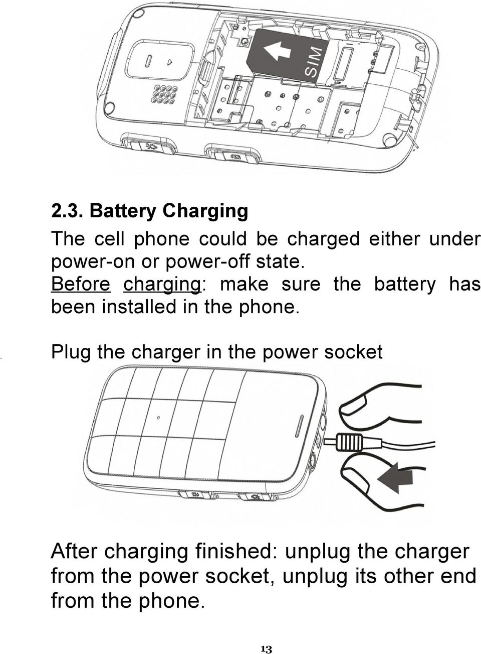 Before charging : make sure the battery has been installed in the phone.