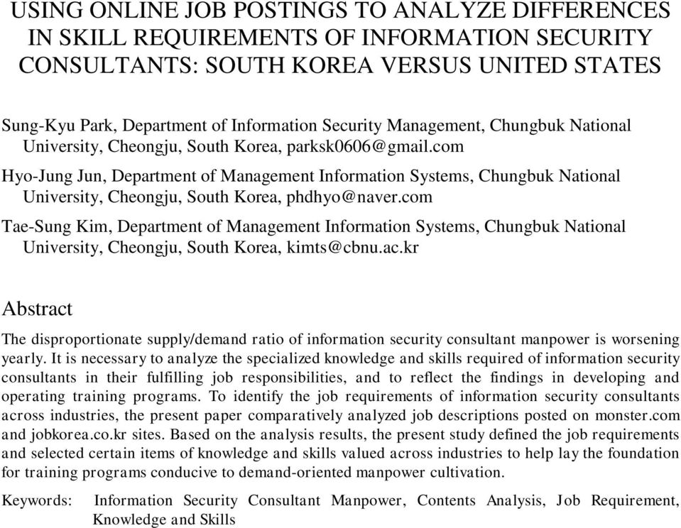 com Hyo-Jung Jun, Department of Management Information Systems, Chungbuk National University, Cheongju, South Korea, phdhyo@naver.