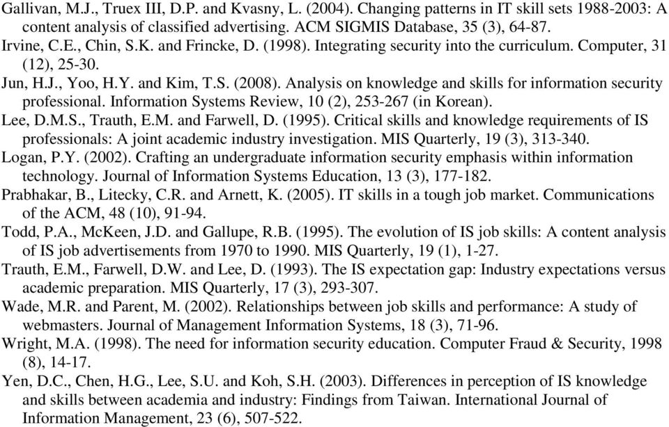 Analysis on knowledge and skills for information security professional. Information Systems Review, 10 (2), 253-267 (in Korean). Lee, D.M.S., Trauth, E.M. and Farwell, D. (1995).