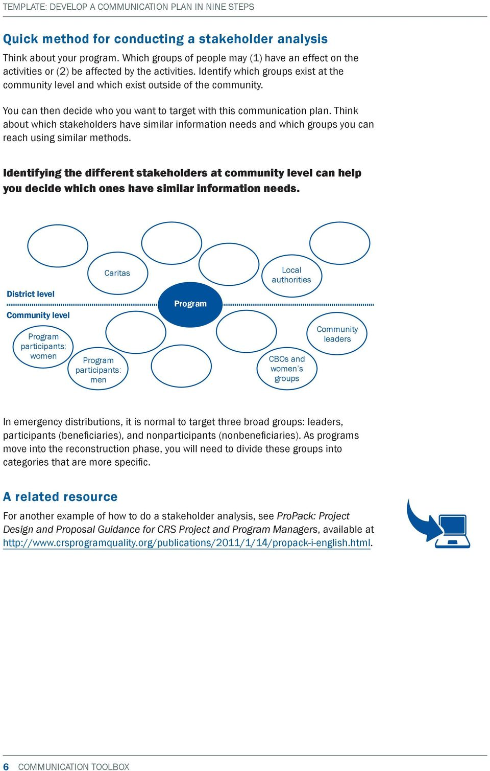 Think about which stakeholders have similar information needs and which groups you can reach using similar methods.