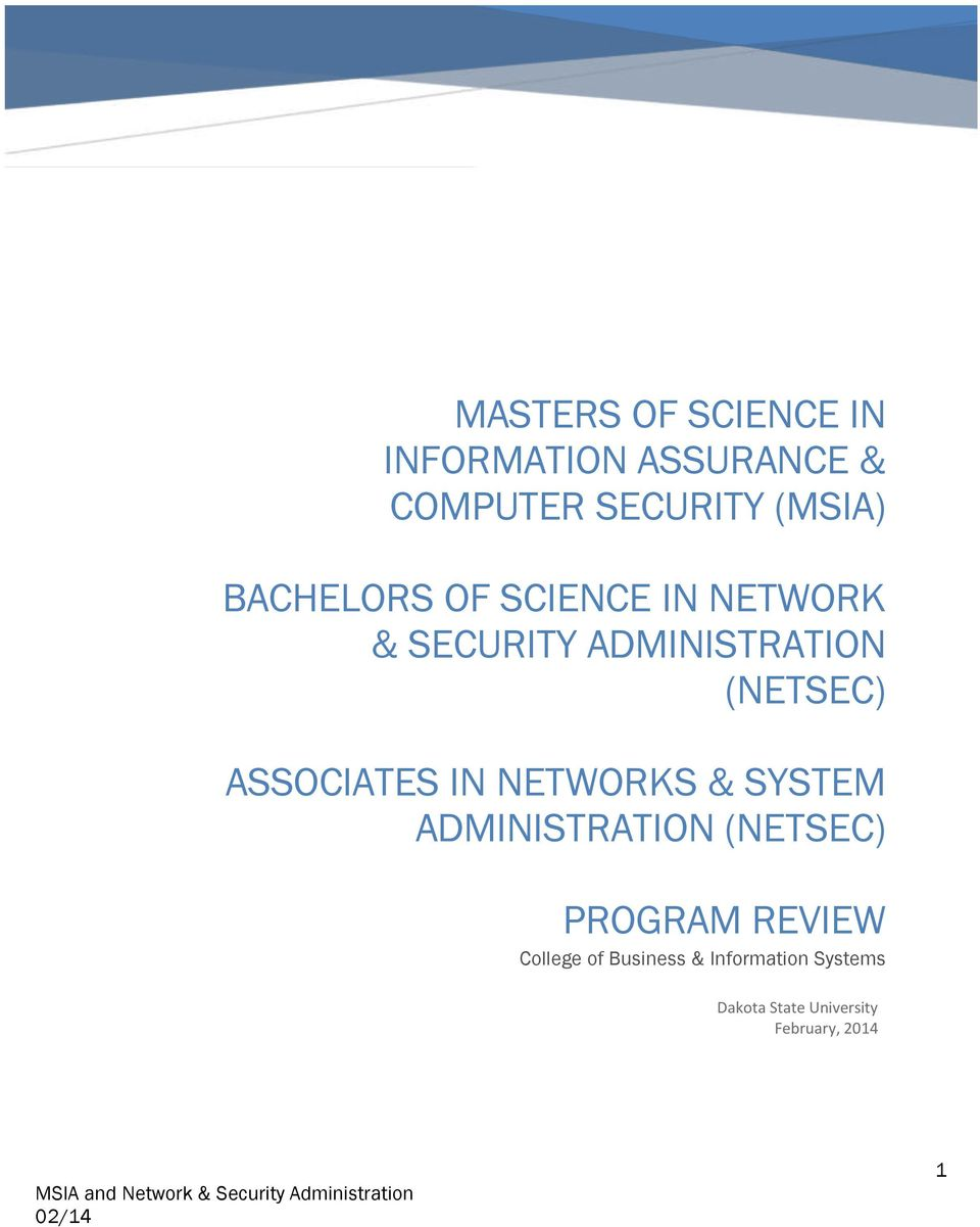 ASSOCIATES IN NETWORKS & SYSTEM ADMINISTRATION (NETSEC) PROGRAM REVIEW