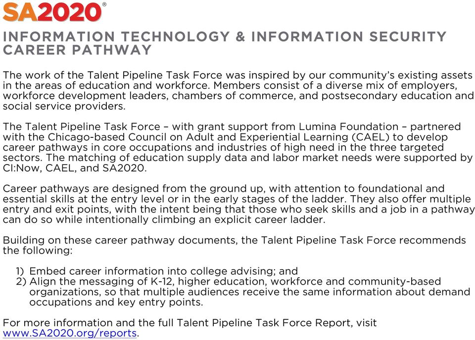 The Talent Pipeline Task Force with grant support from Lumina Foundation partnered with the Chicago-based Council on Adult and Experiential Learning (CAEL) to develop career pathways in core