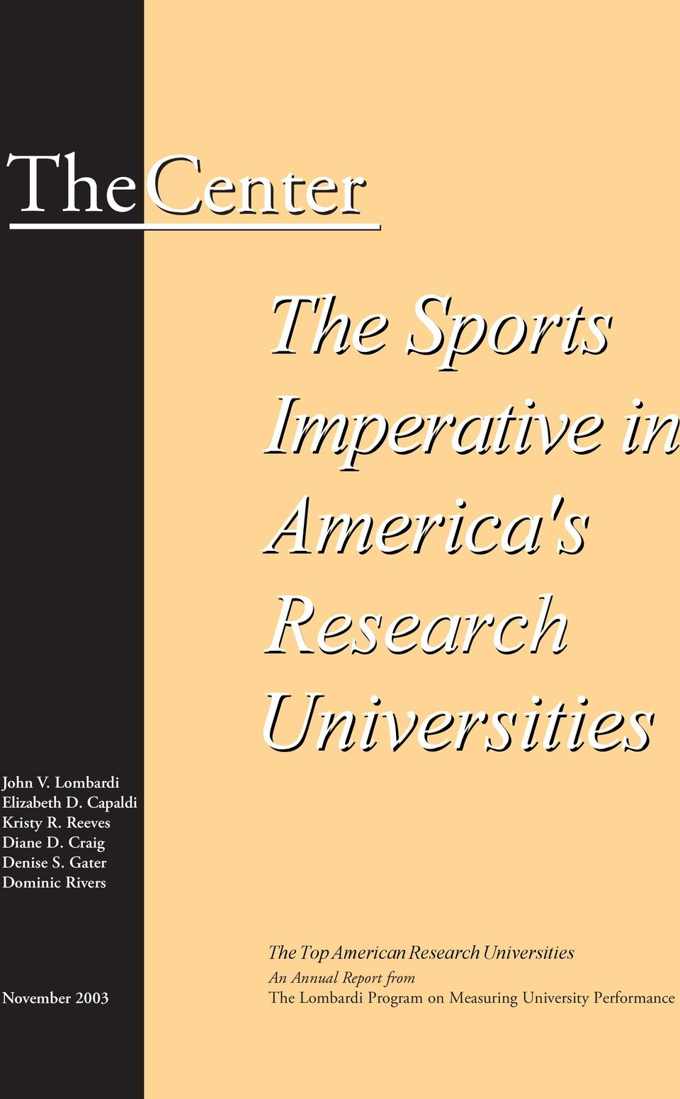 Gater Dominic Rivers The Sports Imperative in America's Research