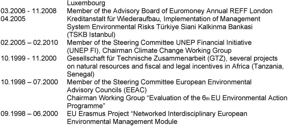 2010 Member of the Steering Committee UNEP Financial Initiative (UNEP FI), Chairman Climate Change Working Group 10.1999-11.