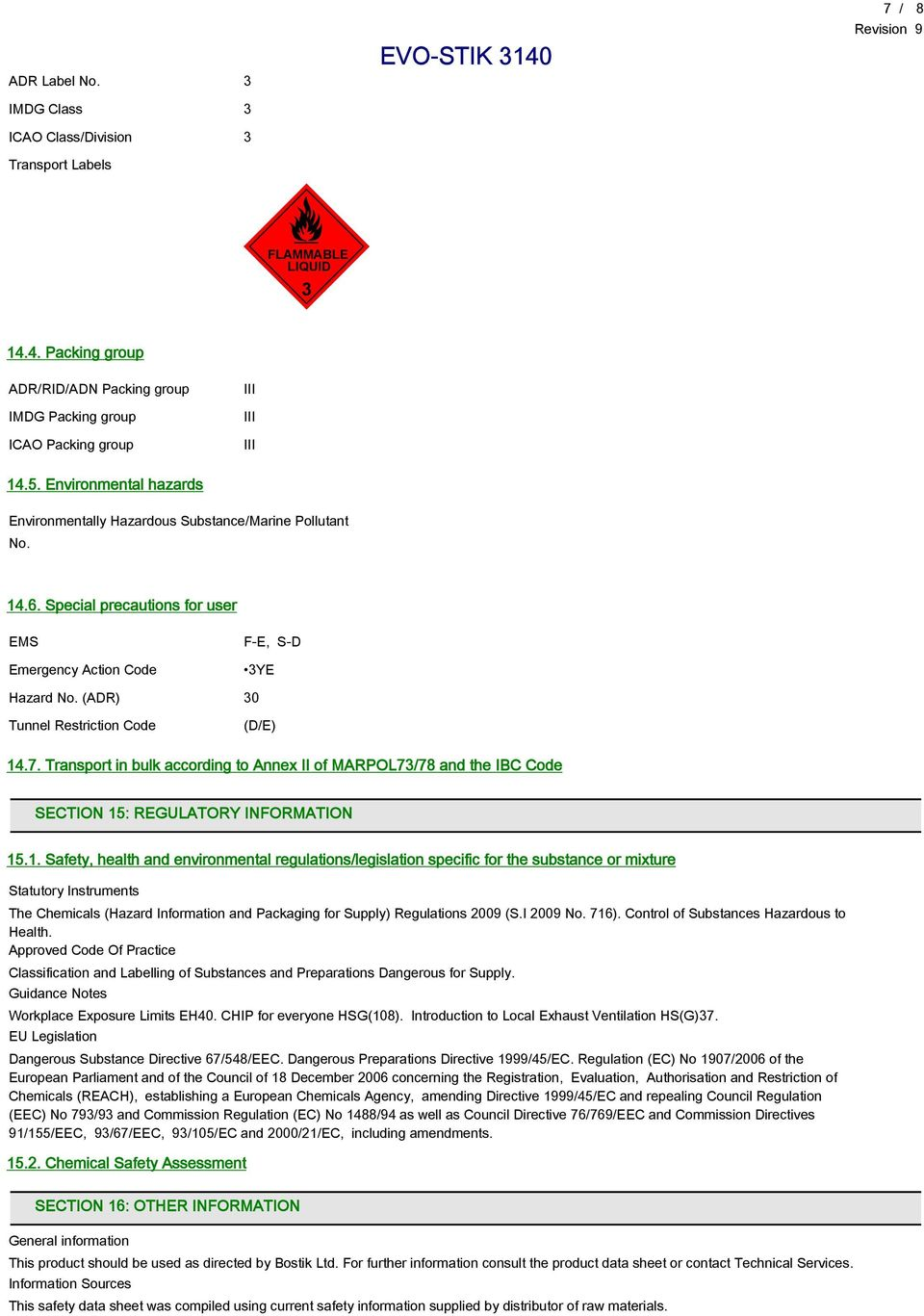 (ADR) 30 Tunnel Restriction Code (D/E) 14
