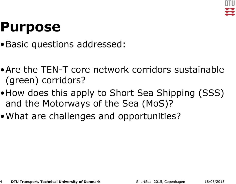 How does this apply to Short Sea Shipping (SSS) and the Motorways of