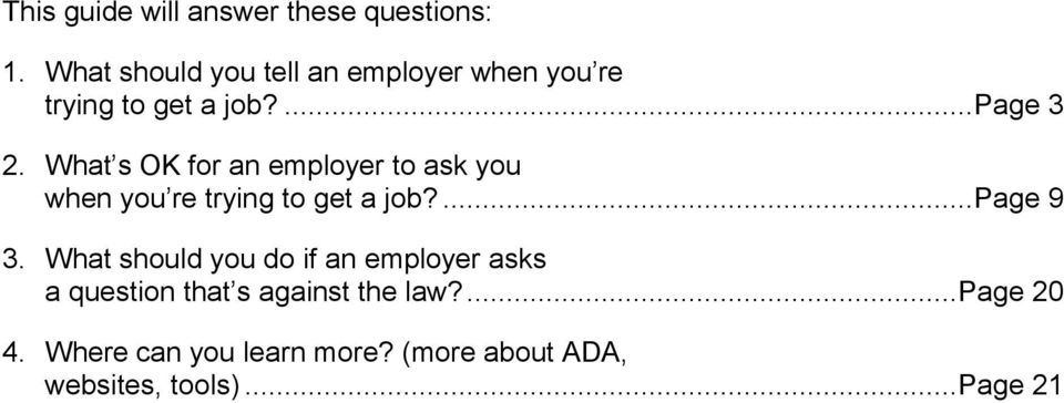 What s OK for an employer to ask you when you re trying to get a job?... Page 9 3.