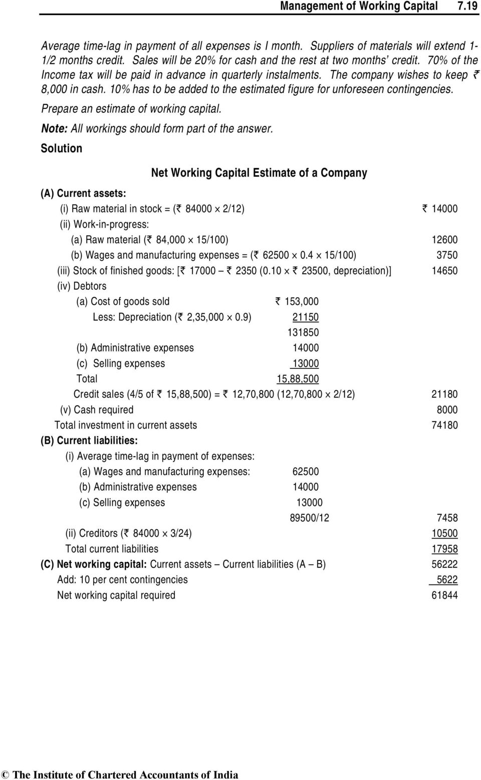 10% has to be added to the estimated figure for unforeseen contingencies. Prepare an estimate of working capital. Note: All workings should form part of the answer.