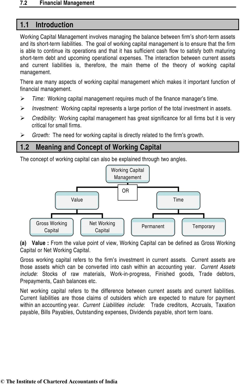 operational expenses. The interaction between current assets and current liabilities is, therefore, the main theme of the theory of working capital management.