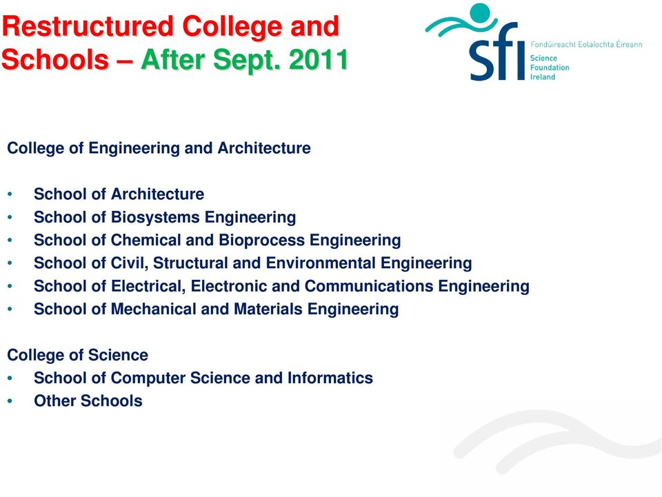 of Chemical and Bioprocess Engineering School of Civil, Structural and Environmental Engineering School of