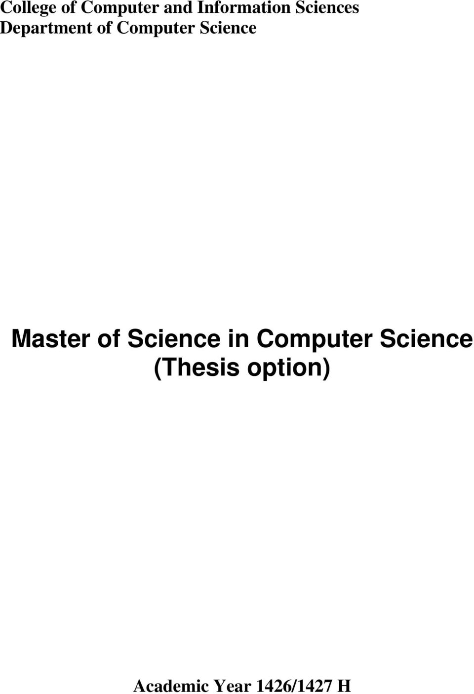 Science Master of Science in Computer