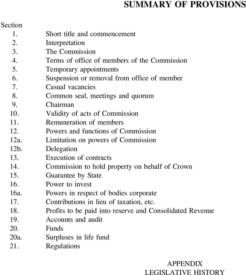 Powers functions of Commission 12a. Limitation on powers of Commission 12b. Delegation 13. Execution of contracts 14. Commission to hold property on behalf of Crown 15. Guarantee by State 16.