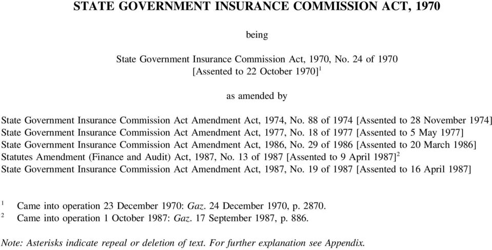 88 of 1974 [Assented to 28 November 1974] State Government Insurance Commission Act Amendment Act, 1977, No.