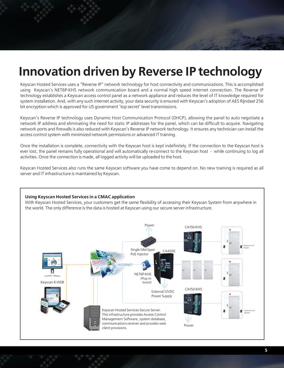 The Reverse IP technology establishes a Keyscan access control panel as a network appliance and reduces the level of IT knowledge required for system installation.