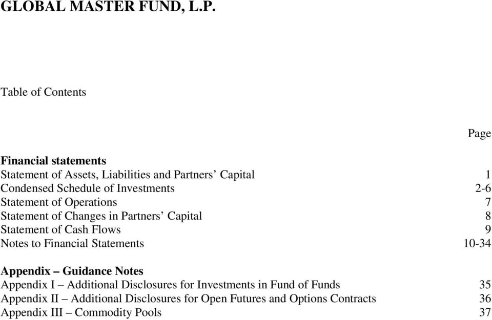 to Financial Statements 10-34 Appendix Guidance Notes Appendix I Additional Disclosures for Investments in Fund of