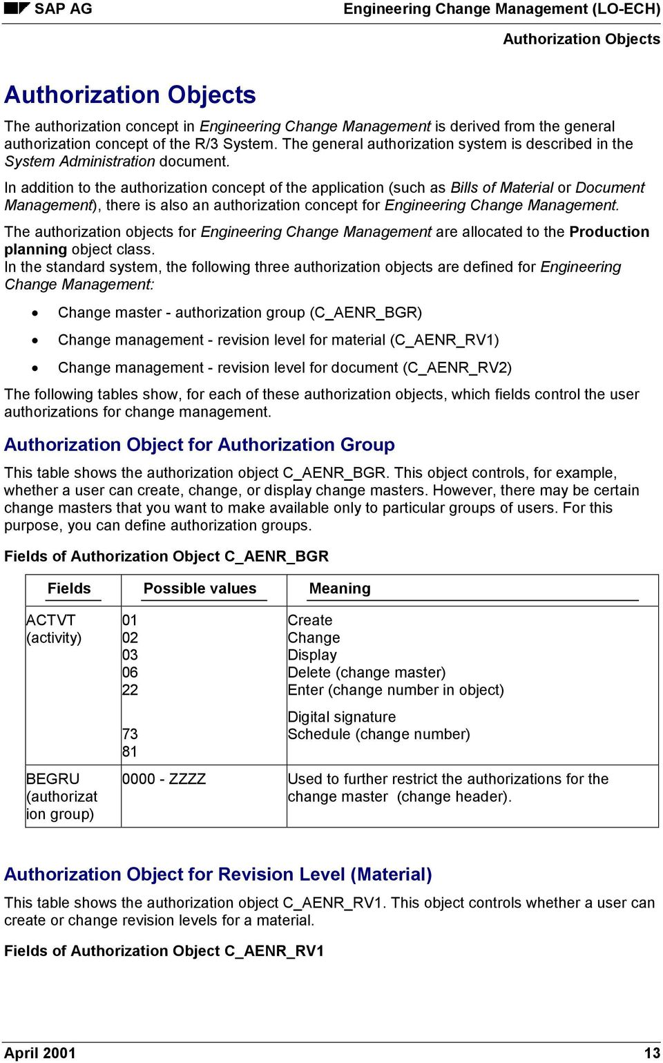 In addition to the authorization concept of the application (such as Bills of Material or Document Management), there is also an authorization concept for Engineering Change Management.